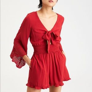 American Eagle Red Tie Front Bell Sleeve Romper